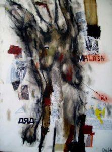 angel en vida contemporanea 2005 comb. techn. on canvas 73x91