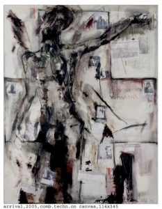 arrival 2005 comb.techn on canvas 114x145