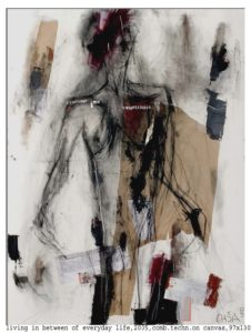living in between of everyday life 2005 comb techn on canvas 97x130